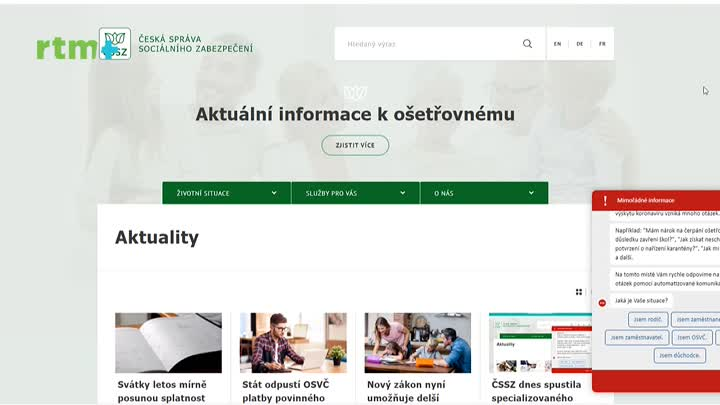 Informace Česká správa sociálního zabezpečení